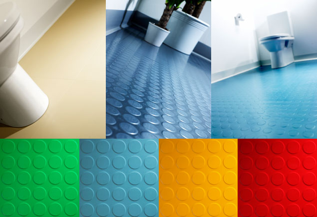 Rubber flooring in bathroom