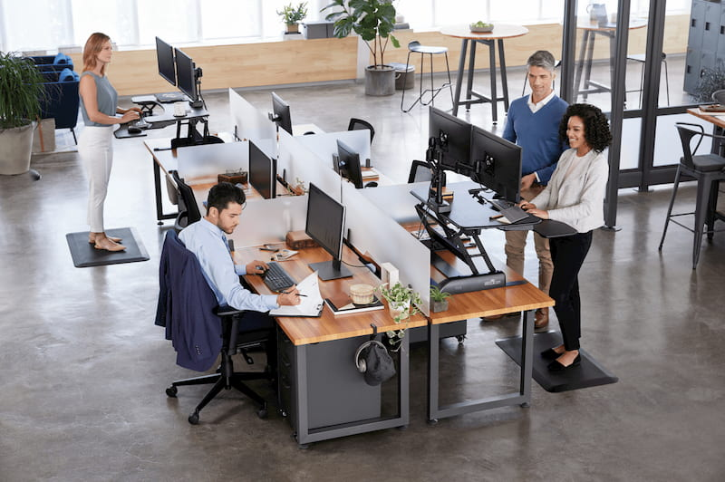people working at their office on standing desks