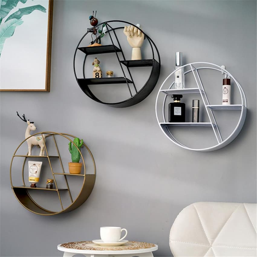 round wall metal hanging shelves decoration for bedroom