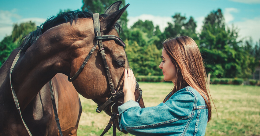 young girl caresses her horse